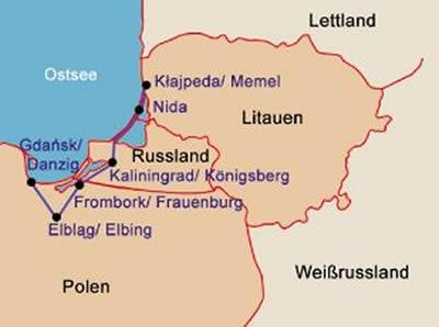 Kurische Nehrung Karte.Amphitrek Radreisen Drei Lander Tour Danzig Konigsberg